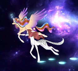 Size: 1080x986 | Tagged: safe, alternate version, artist:sia.brony, oc, oc only, oc:sia, alicorn, pony, unicorn, alicorn oc, duo, female, flying, glowing horn, horn, mare, space, stars, unicorn oc, wings