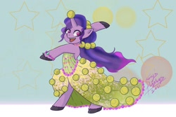 Size: 1772x1181   Tagged: safe, artist:shacy's pagelings, izzy moonbow, pony, unicorn, g5, abstract background, ball, bipedal, bracelet, clothes, cute, dress, female, horn, horn guard, horn impalement, hornball, izzy's tennis ball, izzybetes, jewelry, mare, necklace, open mouth, ponytail, signature, skirt, solo, stars, tennis ball, that pony sure does love tennis balls, unshorn fetlocks