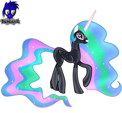 Size: 4154x3840 | Tagged: safe, alternate version, artist:damlanil, princess celestia, alicorn, pony, bdsm, blushing, bondage, bondage mask, boots, bound wings, catsuit, clothes, collar, corset, ethereal mane, female, gag, galaxy mane, gimp suit, high heels, hood, horn, latex, latex boots, latex suit, mare, muzzle gag, raised hoof, rubber, rubber suit, shiny, shiny mane, shoes, show accurate, simple background, socks, solo, thigh highs, transparent background, vector, wings