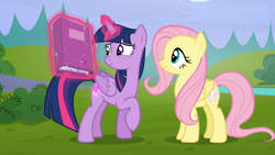 Size: 1920x1080   Tagged: safe, screencap, fluttershy, twilight sparkle, alicorn, pegasus, pony, season 5, the hooffields and mccolts, book, cute, duo, duo female, female, grin, magic, mare, raised hoof, smiling, telekinesis, twiabetes, twilight sparkle (alicorn)