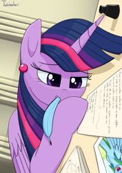 Size: 2480x3507 | Tagged: safe, artist:twidasher, rainbow dash, twilight sparkle, alicorn, pegasus, pony, ear piercing, feather, female, inkwell, lesbian, letter, mouth hold, photo, piercing, quill, shipping, signature, table, twidash, twilight sparkle (alicorn)