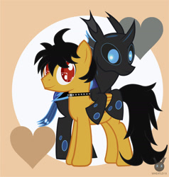 Size: 1474x1551 | Tagged: safe, artist:wheatley r.h., derpibooru exclusive, oc, oc only, oc:rito, oc:w. rhinestone eyes, changeling, pegasus, automata, blue changeling, changeling oc, happy, heart, honeypot changeling, jewelry, male, messy tail, necklace, pegasus oc, stallion, vector, watermark, yellow coat