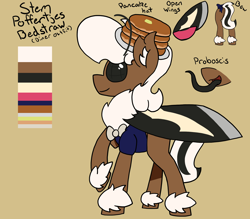 Size: 1600x1400   Tagged: safe, artist:stemthebug, oc, oc only, oc:stem bedstraw, insect, moth, mothpony, original species, pony, clothes, reference sheet, solo