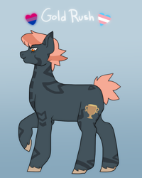 Size: 958x1200 | Tagged: safe, artist:greenarsonist, oc, oc only, earth pony, pony, bisexual, bisexual pride flag, earth pony oc, female, pride, pride flag, solo, trans female, transgender, transgender pride flag