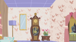Size: 1280x720   Tagged: safe, screencap, discordant harmony, background, clock, couch, discord's house, kitchen, lamp, liminal space, living room, no pony, scenic ponyville