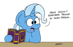 Size: 2136x1400 | Tagged: safe, artist:bobthedalek, trixie, pony, unicorn, atg 2021, blatant lies, book, female, friendship journal, head on hoof, hypocritical humor, irony, mare, newbie artist training grounds, talking in third person