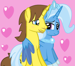 Size: 772x682 | Tagged: safe, artist:jadethepegasus, trixie, oc, oc:grapefruit face, pony, alicorn trixie, blushing, canon x oc, grapexie, heart, hug, looking at each other, shipping, straight, winghug, wings