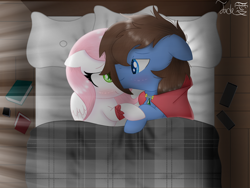 Size: 2000x1500   Tagged: safe, artist:jadebreeze115, oc, oc only, oc:bizarre song, oc:sugar morning, pegasus, blanket, book, couple, cuddling, cuddling in bed, cute, duo, female, holding hooves, looking at each other, male, mare, pegasus oc, phone, romantic, shipping, stallion
