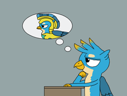 Size: 1500x1125   Tagged: safe, artist:blazewing, gallus, griffon, the last problem, atg 2021, daydream, desk, drawpile, male, newbie artist training grounds, royal guard, royal guard gallus, sitting, solo, thinking, thought bubble