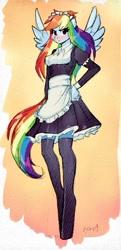 Size: 343x707   Tagged: safe, artist:xjenn9, rainbow dash, anthro, unguligrade anthro, clothes, colored sketch, maid, sketch, solo