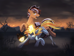 Size: 2224x1682 | Tagged: safe, artist:draw3, oc, oc:cocoa haricot, oc:silver spirit, earth pony, pony, unicorn, fallout equestria, amputee, commission, fallout, gun, high res, prosthetic leg, prosthetic limb, prosthetics, sunset, wasteland, weapon