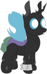Size: 2600x4050 | Tagged: safe, artist:theunidentifiedchangeling, oc, oc:[unidentified], changeling, changeling oc, closed mouth, digital art, ears, eyes open, fangs, full body, horn, looking at something, short tail, simple background, smiling, standing, symbol, tail, three quarter view, transparent background, wings