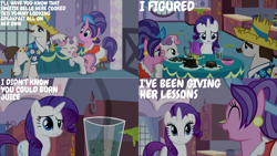 Size: 1280x720 | Tagged: safe, edit, edited screencap, editor:quoterific, screencap, cookie crumbles, hondo flanks, rarity, sweetie belle, pony, unicorn, season 2, sisterhooves social, ^^, carousel boutique, eyes closed, female, filly, male, mare, open mouth, smiling, stallion