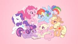 Size: 1200x675 | Tagged: safe, artist:celesse, applejack, fluttershy, pinkie pie, rainbow dash, rarity, twilight sparkle, butterfly, earth pony, pegasus, pony, unicorn, g4, applejack's hat, book, butt, cowboy hat, cute, dashabetes, diapinkes, eyes closed, featured image, female, g1 style, generation leap, hat, heart, jackabetes, lightning, lying down, mane six, mare, pink background, plot, prone, raribetes, shyabetes, simple background, sweet dreams fuel, twiabetes, unicorn twilight