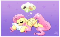 Size: 3490x2150 | Tagged: safe, artist:confetticakez, fluttershy, pegasus, pony, rabbit, animal, blushing, cute, dream, ear fluff, eyes closed, female, gradient background, lavender background, lying down, mare, newbie artist training grounds, pillow, prone, shyabetes, simple background, sleeping, smiling, solo, starry background, stars, sweet dreams fuel, wing fluff