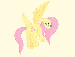 Size: 2224x1668 | Tagged: safe, artist:enzodoesart, fluttershy, pegasus, pony, flying, low angle, simple background, solo, yellow fur