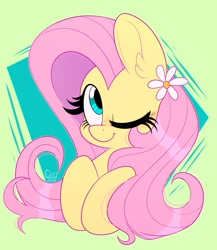 Size: 1775x2048   Tagged: safe, artist:wutanimations, fluttershy, pegasus, pony, abstract background, bust, cute, ear fluff, eyes closed, female, flower, flower in hair, mare, one eye closed, shyabetes, solo, wink