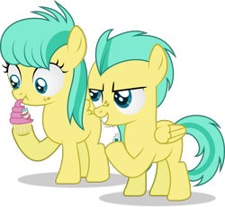 Size: 3972x3677 | Tagged: safe, artist:thatusualguy06, barley barrel, pickle barrel, pegasus, pony, rainbow roadtrip, atg 2021, barrel twins, brother and sister, colt, cupcake, evil grin, female, filly, foal, food, grin, gritted teeth, high res, male, newbie artist training grounds, prank, scrunchy face, show accurate, siblings, simple background, smiling, solo, toothpaste, transparent background, twins, vector