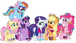 Size: 2407x1385 | Tagged: safe, artist:shiibases, artist:sir-psych0-s3xy, applejack, fluttershy, pinkie pie, rainbow dash, rarity, twilight sparkle, alicorn, earth pony, pegasus, pony, unicorn, applejack's hat, bandana, base used, bisexual pride flag, body painting, bow, bracelet, choker, clothes, cowboy hat, demisexual, demisexual pride flag, dress, ear piercing, earring, face paint, female, freckles, fying, grin, hair bow, hat, jewelry, lesbian pride flag, mane six, mare, pansexual, pansexual pride flag, piercing, polyamory pride flag, pride, pride flag, pride month, raised hoof, simple background, smiling, socks, striped socks, tail bow, trans female, transgender, transgender pride flag, transparent background, twilight sparkle (alicorn), wristband