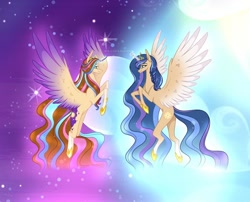 Size: 1080x872 | Tagged: safe, artist:sia.brony, oc, oc only, oc:sia, alicorn, pony, alicorn oc, braid, duo, female, flying, glowing horn, hoof shoes, horn, mare, smiling, stars, two toned wings, wings