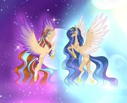 Size: 1080x871 | Tagged: safe, alternate version, artist:sia.brony, oc, oc only, oc:sia, alicorn, pony, alicorn oc, braid, duo, female, flying, hoof shoes, horn, mare, smiling, stars, two toned wings, wings