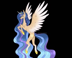 Size: 1080x872 | Tagged: safe, alternate version, artist:sia.brony, oc, oc only, oc:sia, alicorn, pony, alicorn oc, background removed, black background, braid, female, flying, hoof shoes, horn, mare, simple background, smiling, solo, two toned wings, wings