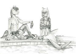 Size: 1400x1003 | Tagged: safe, artist:baron engel, applejack, oc, earth pony, mermaid, merpony, anthro, absolute cleavage, breasts, busty applejack, cleavage, female, front knot midriff, male, mare, mermaidized, midriff, monochrome, pencil drawing, species swap, stallion, traditional art, wet, wet mane