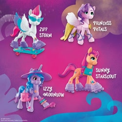 Size: 2000x2000 | Tagged: safe, izzy moonbow, pipp petals, sunny starscout, zipp storm, earth pony, pegasus, pony, unicorn, g5, official, abstract background, female, hat, mare, skateboard, skates, sunglasses, text, toy, twilight sparkle's cutie mark