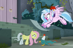 Size: 872x569 | Tagged: safe, artist:singularmj, edit, edited screencap, screencap, edith (cockatrice), fluttershy, silverstream, classical hippogriff, cockatrice, hippogriff, pegasus, pony, school daze, stare master, pun, stairs, stare, that hippogriff sure does love stairs