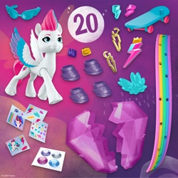 Size: 2000x2000 | Tagged: safe, zipp storm, pegasus, pony, g5, official, abstract background, female, hoof shoes, mare, skateboard, sticker, sunglasses, toy, wristband