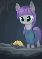 Size: 988x1394 | Tagged: safe, artist:dusthiel, maud pie, earth pony, pony, atg 2021, cave, clothes, dress, female, gold, mare, newbie artist training grounds, rock