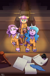Size: 1280x1920 | Tagged: safe, artist:littletigressda, izzy moonbow, pipp petals, sunny starscout, earth pony, pegasus, pony, unicorn, g5, braid, chained, chains, clothes, court, courtroom, cuffs, feather, female, floppy ears, gavel, handcuffed, hoof fluff, ink, light, mare, open mouth, paper, prison outfit, raised hoof, sad, signature, trio, unshorn fetlocks
