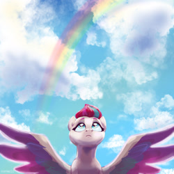 Size: 2048x2048 | Tagged: safe, artist:pfeffaroo, zipp storm, pegasus, pony, g5, cloud, female, g5 pegasi can't fly, high res, looking up, mare, rainbow, sky, solo, spread wings, wings