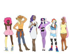 Size: 2160x1620   Tagged: safe, artist:ohmisweetgoodness, applejack, fluttershy, pinkie pie, rainbow dash, rarity, twilight sparkle, human, alternate hairstyle, applejack's hat, belly button, belt, boob window, book, boots, bra, bra strap, clothes, converse, cowboy boots, cowboy hat, dark skin, dress, eyeshadow, feet, female, flats, freckles, glasses, grin, hat, high heels, humanized, lipstick, makeup, mane six, midriff, nail polish, overalls, ponytail, sandals, shoes, shorts, simple background, smiling, sneakers, socks, sports shorts, stockings, suit, tanktop, thigh highs, underwear, white background