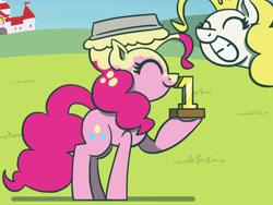 Size: 1800x1350 | Tagged: safe, artist:flutterluv, pinkie pie, surprise, earth pony, pegasus, pony, atg 2021, award, duo, food, mushroom kingdom, newbie artist training grounds, pie, pied, princess peach's castle, smiling, super mario bros., trophy