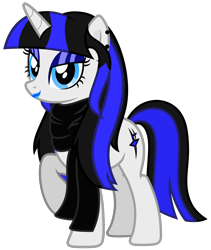 Size: 3070x3635 | Tagged: safe, artist:severity-gray, oc, oc only, oc:coldlight bluestar, pony, unicorn, alternate hairstyle, bedroom eyes, clothes, cutie mark, ear piercing, eyeliner, eyeshadow, female, lipstick, makeup, mare, piercing, scarf, simple background, solo, standing, transparent background