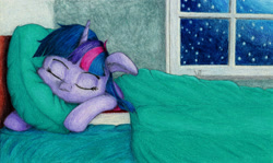 Size: 1920x1143 | Tagged: safe, artist:myzanil, twilight sparkle, pony, unicorn, bed, book, colored pencil drawing, cute, eyes closed, floppy ears, messy mane, night, pillow, sleeping, solo, stars, traditional art, window