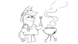 Size: 1920x1080   Tagged: safe, artist:kylesmeallie, applejack, earth pony, pony, bipedal, black and white, female, grayscale, grill, grill boomer, hoof hold, mare, monochrome, simple background, smoke, solo, white background