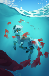 Size: 1600x2500 | Tagged: safe, artist:joan-grace, oc, oc only, fish, pony, bubble, commission, crepuscular rays, ocean, signature, smiling, solo, sunlight, swimming, underwater, water, ych result, yellow eyes