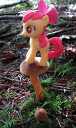 Size: 1070x1800 | Tagged: safe, artist:travelling-my-little-pony, apple bloom, female, filly, fungus, irl, mushroom, photo, solo, toy