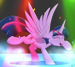 Size: 2000x1779 | Tagged: safe, artist:arcane-thunder, twilight sparkle, alicorn, pony, adorkable, atg 2021, confetti, cute, cutie mark, dancing, do the sparkle, dork, eyes closed, female, floppy ears, mare, newbie artist training grounds, open mouth, solo, straight, twiabetes, twilight sparkle (alicorn)