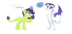 Size: 1116x537   Tagged: safe, artist:pandoramoon110, oc, oc only, oc:amethyst, oc:limestone, dracony, dragon, hybrid, pony, duo, female, interspecies offspring, levitation, magic, offspring, parent:rarity, parent:spike, parents:sparity, siblings, simple background, sisters, telekinesis, white background