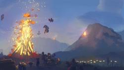 Size: 2000x1125 | Tagged: safe, artist:mandumustbasukanemen, pegasus, pony, atg 2021, bonfire, embers, evening, fire, mountain, newbie artist training grounds, scenery, summer solstice, village