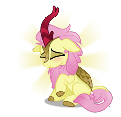 Size: 4735x4565 | Tagged: safe, artist:anime-equestria, fluttershy, kirin, absurd resolution, blushing, cute, eyes closed, female, floppy ears, happy, kirin fluttershy, kirin-ified, kirinshy, leonine tail, neck fluff, shyabetes, simple background, sitting, smiling, solo, species swap, transparent background, vector