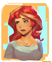 Size: 1546x1837 | Tagged: safe, artist:vanillaghosties, sunset shimmer, equestria girls, abstract background, bust, open mouth, portrait, raised eyebrow, solo
