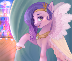 Size: 1250x1050   Tagged: safe, artist:funkyfurs, hitch trailblazer, izzy moonbow, pipp petals, sunny starscout, zipp storm, earth pony, pegasus, pony, unicorn, g5, adorapipp, blushing, clothes, cloud, curtains, cute, dress, feather, female, heart eyes, hoof fluff, looking at you, mane five (g5), mare, open mouth, raised hoof, sky, stage, unshorn fetlocks, wingding eyes, wings