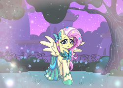 Size: 5000x3571 | Tagged: safe, artist:darkstorm mlp, fluttershy, pegasus, pony, the best night ever, anime style, canterlot gardens, clothes, cute, daydream, dress, female, gala dress, shyabetes, solo, sparkles, spread wings, tree, wings