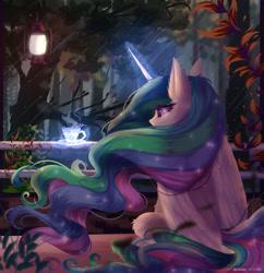 Size: 1280x1320 | Tagged: safe, artist:justkattyo, princess celestia, alicorn, pony, cup, female, forest, lamp, lantern, magic, mare, night, rear view, sitting, solo, teacup, telekinesis, tree