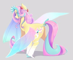 Size: 3371x2784 | Tagged: safe, artist:kisselmr, fluttershy, pegasus, pony, alternate design, alternate hairstyle, colored hooves, fairy wings, female, gray background, mare, simple background, solo, wings