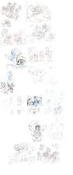 Size: 2928x7000 | Tagged: safe, artist:scittykitty, applejack, fluttershy, pinkie pie, rainbow dash, rarity, spike, twilight sparkle, oc, charizard, dragon, earth pony, fox, human, pegasus, pony, robot, robot pony, unicorn, wolf, anthro, anthro with ponies, crossover, lineart, mane seven, mane six, monochrome, pokémon, sketch, sketch dump, traditional art, wings